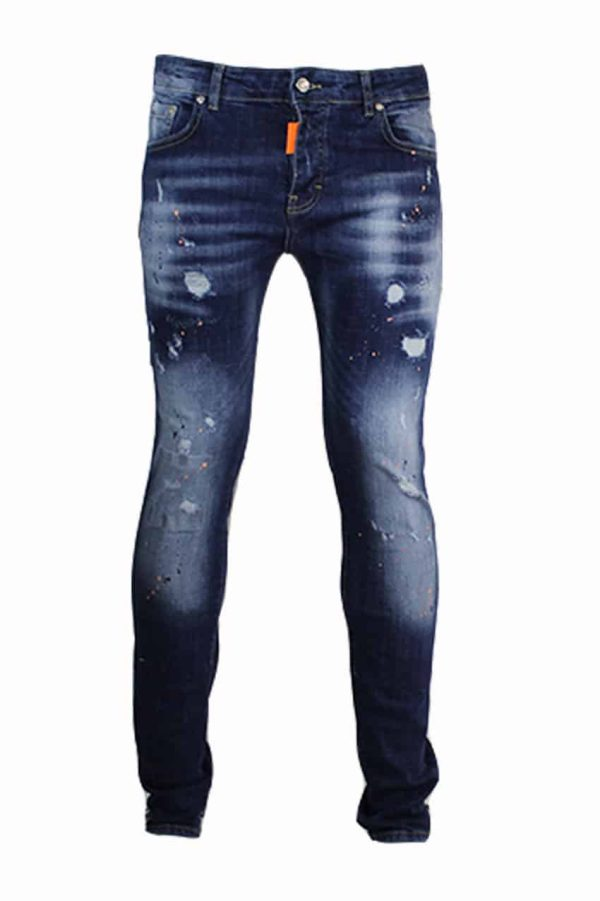 My brand jeans orange spotted donker blauw-2