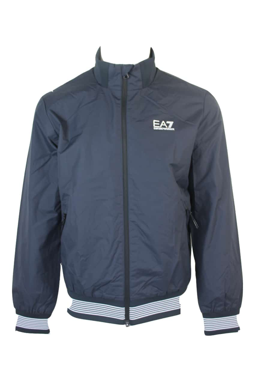 Armani EA7 Full-Zip Bomber With Logo Blue
