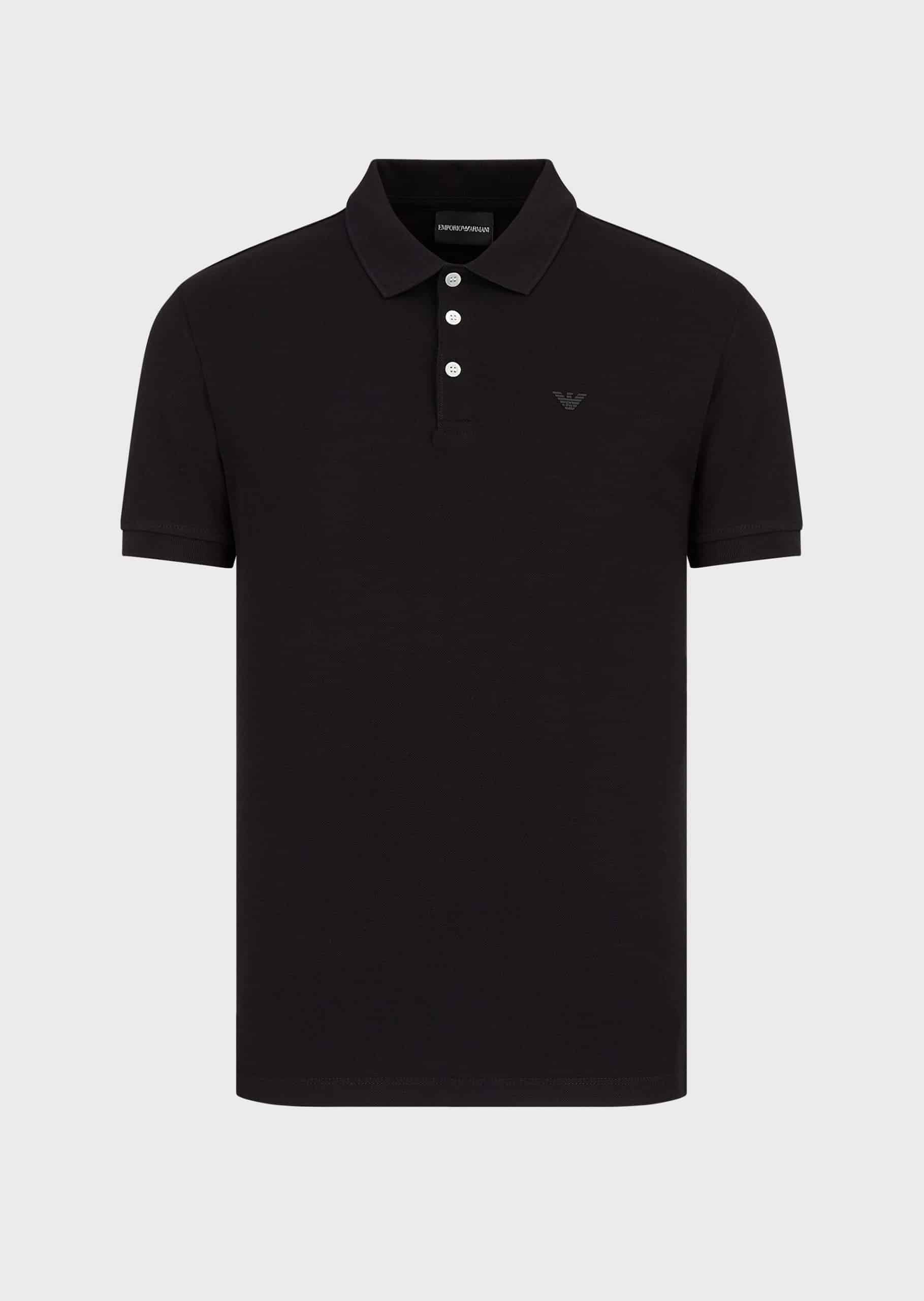 Emporio Armani Jersey polo Shirt With Eagle Embroidery