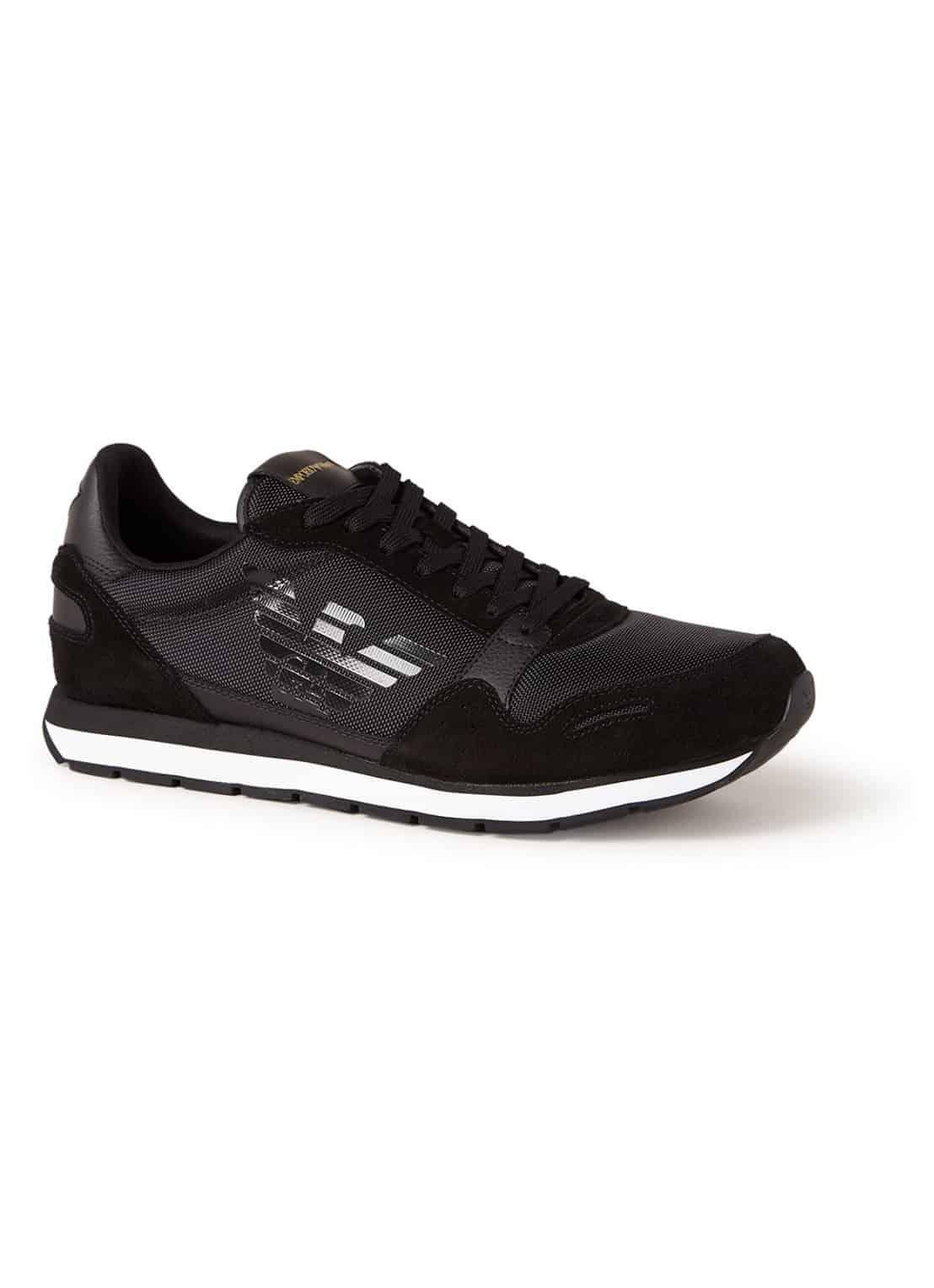 Emporio Armani Sneaker Met Details Van Suède En Leer