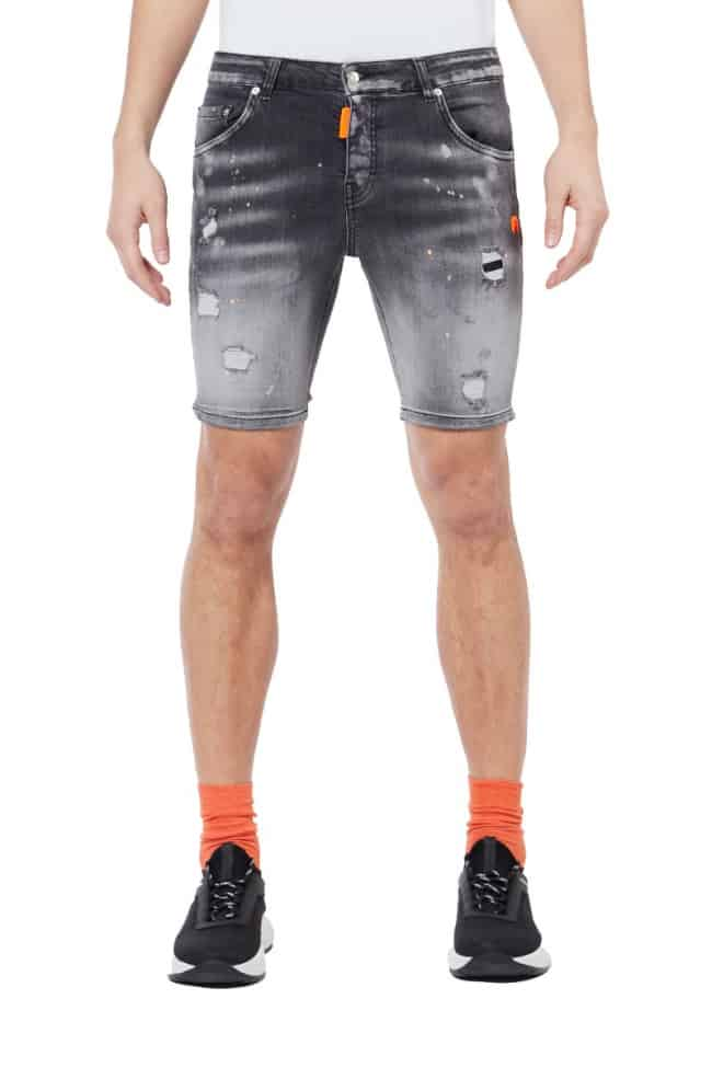 My Brand Denim Grey Neon Orange Spotted Short