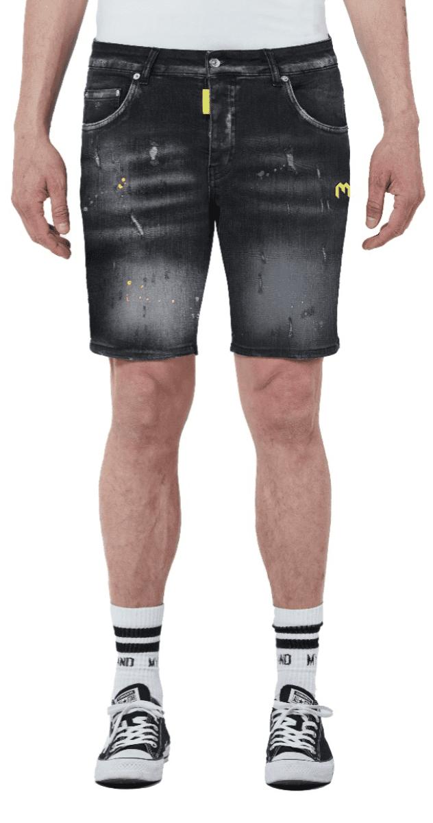 My Brand Denim Grey Neon Yellow Spotted Short