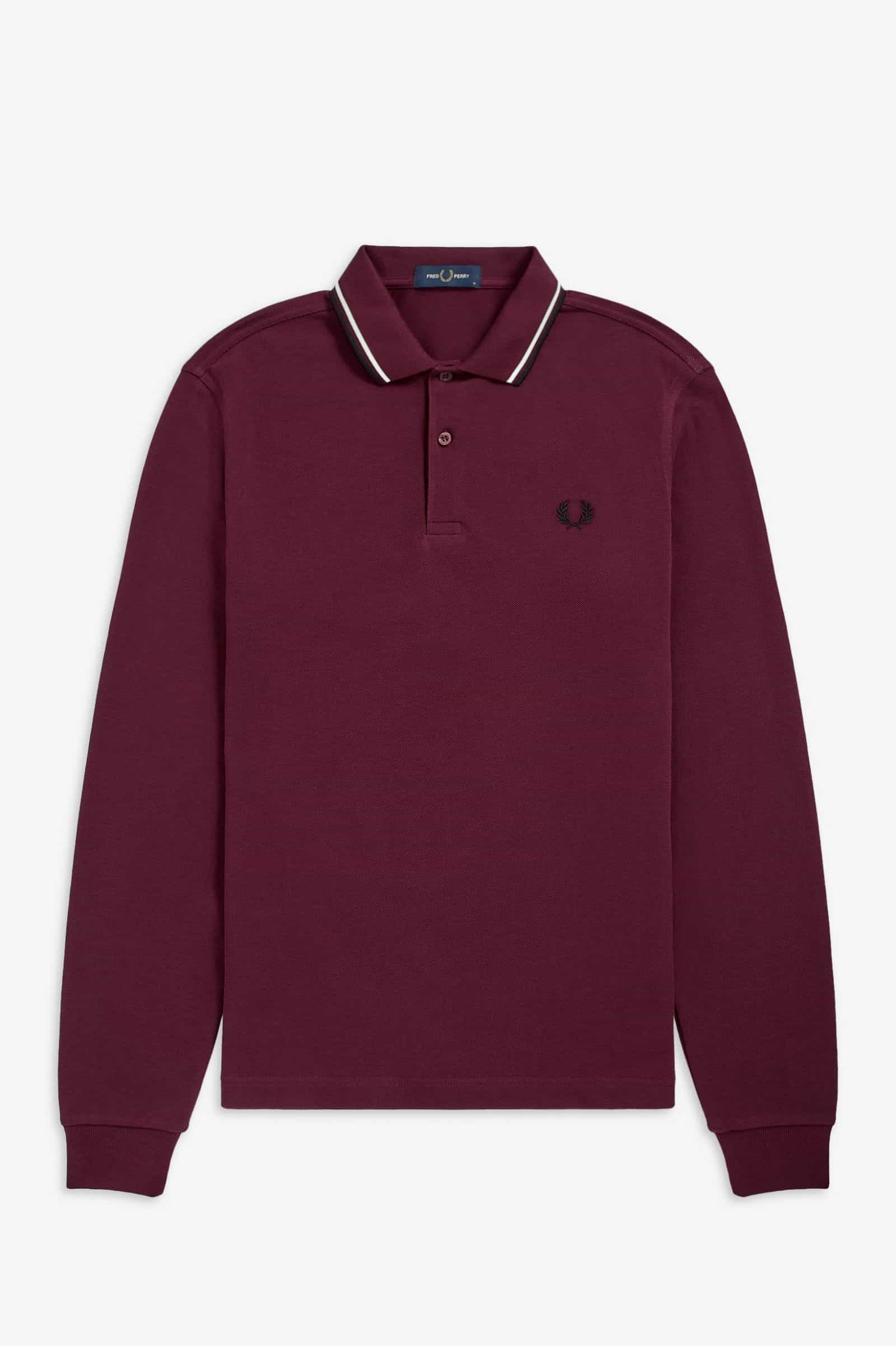 Fred Perry Twin Tipped Polo L/S Aubergine