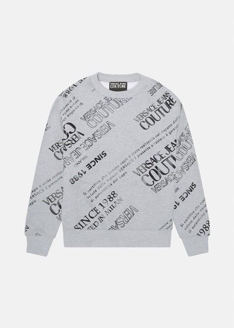 Versace Jeans Couture Etichetta Print Sweatshirt Grey