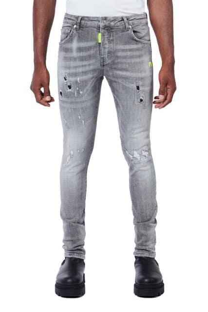 My Brand Neon Yellow Spots Grey Jeans