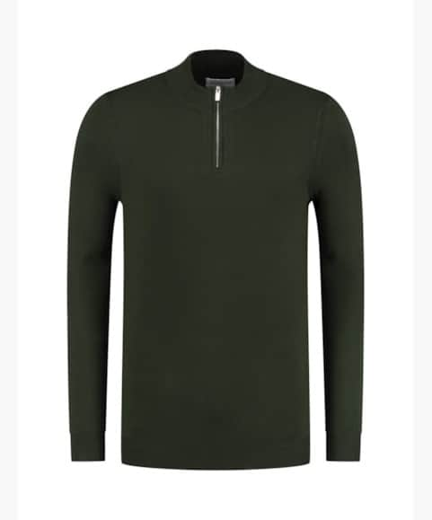 PureWhite Essential Knit Half Zip Army Green