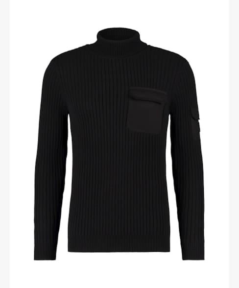 Purewhite Waffle Knit Pockets Sweater Black