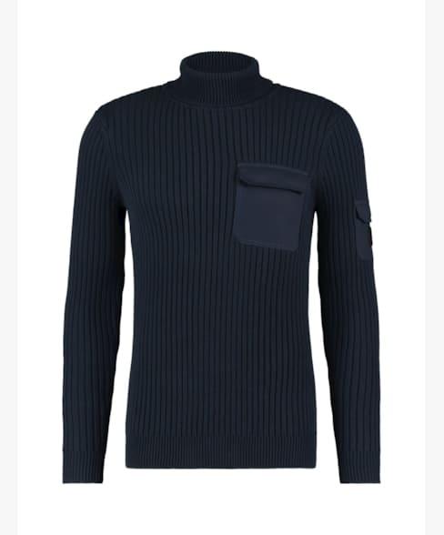 Purewhite Waffle Knit Pockets Sweater Navy