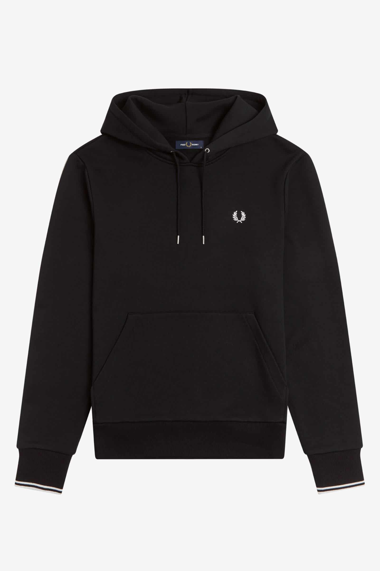 Fred Perry Tipped Hooded Sweatshirt Black