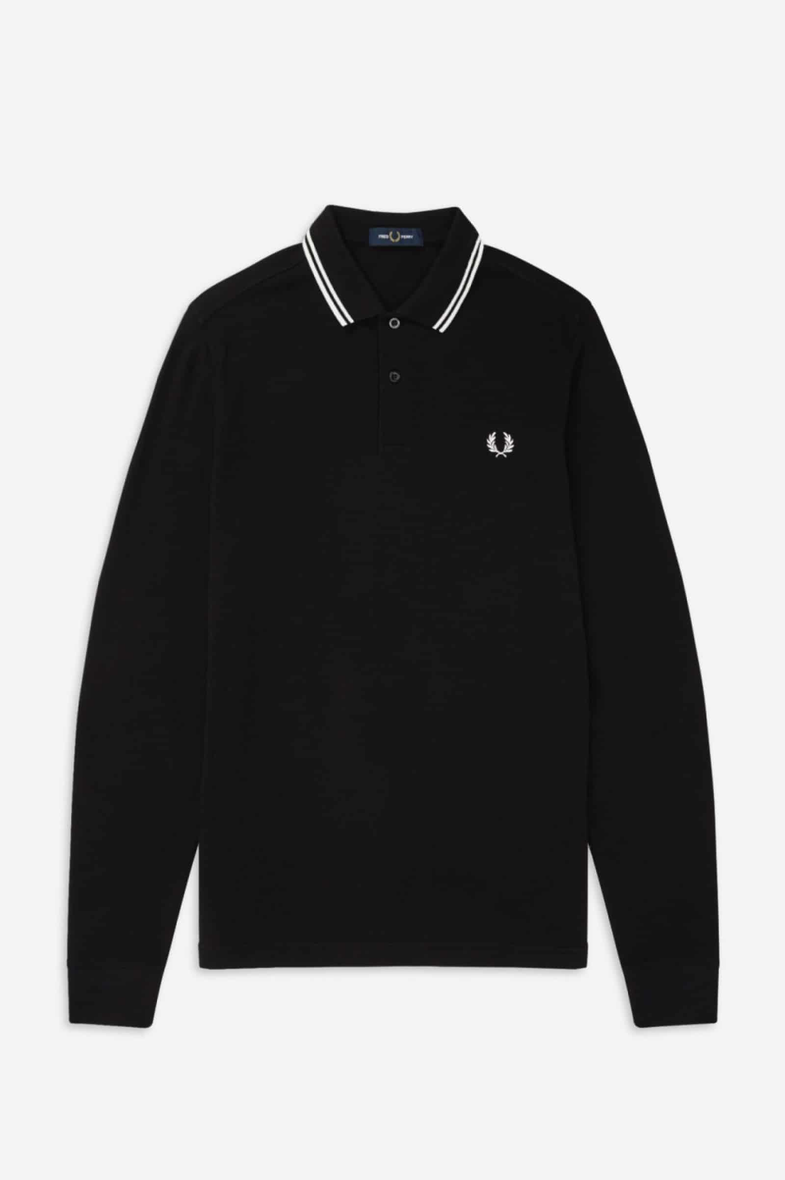 Fred Perry Twin Tipped Polo L/S Black