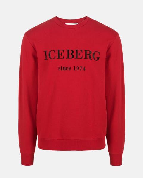 Iceberg Crew Neck Bordeaux Cotton Sweatshirt With Contrasting Logo