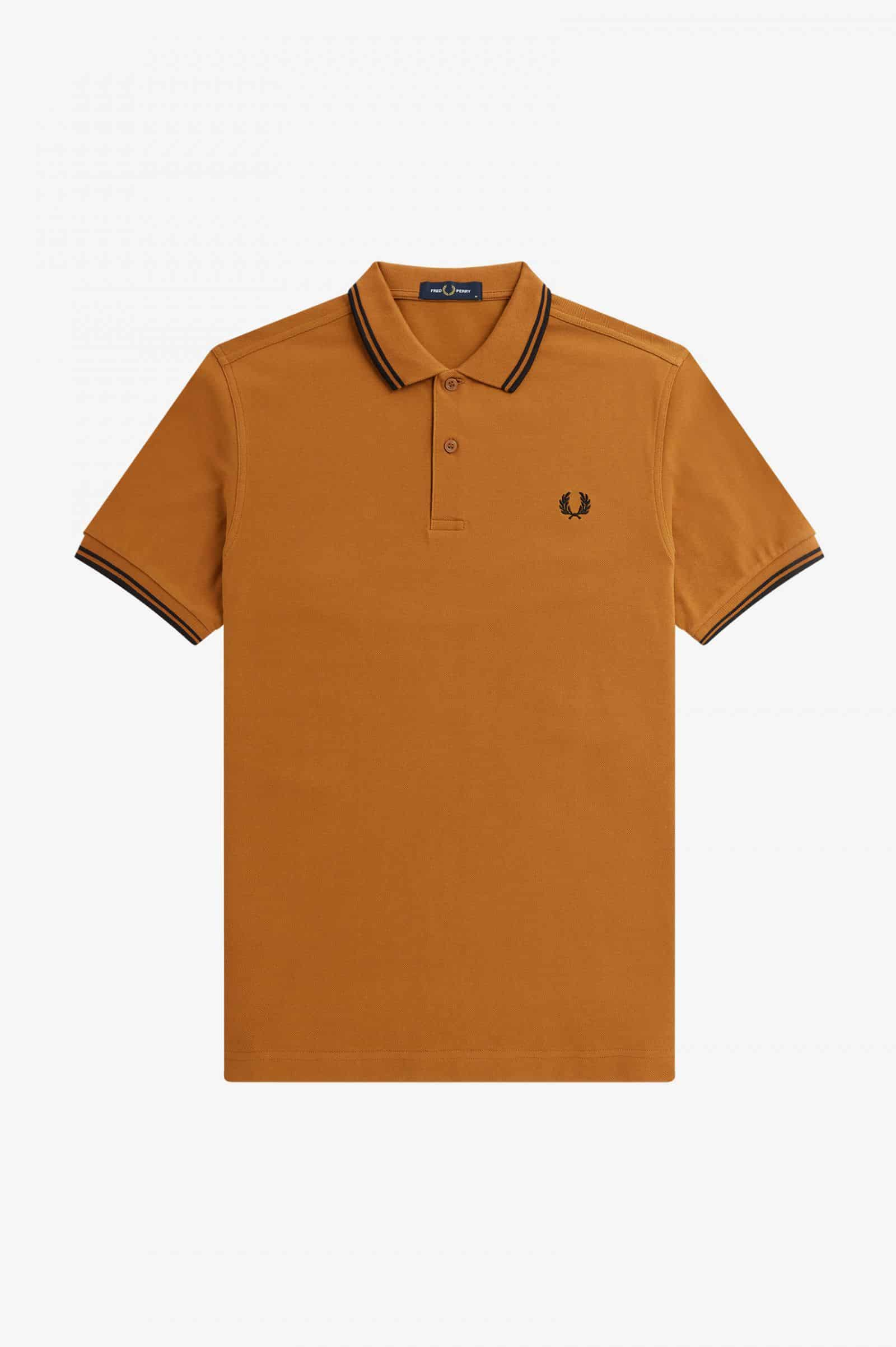 Fred Perry Twin Tipped Polo Dark Camel