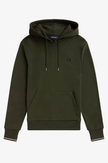 Fred Perry Tipped Hooded Sweatshirt Hunting Green
